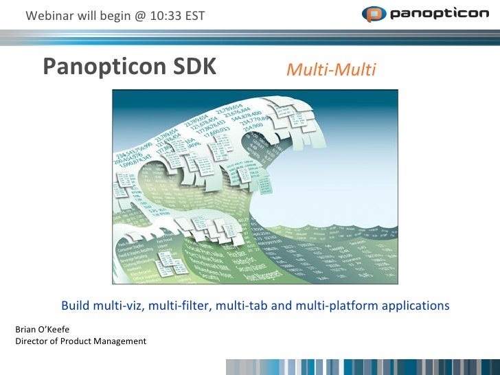 Panopticon SDK  Webinar will begin @ 10:33 EST Brian O'Keefe Director of Product Management Build multi-viz, multi-filter,...