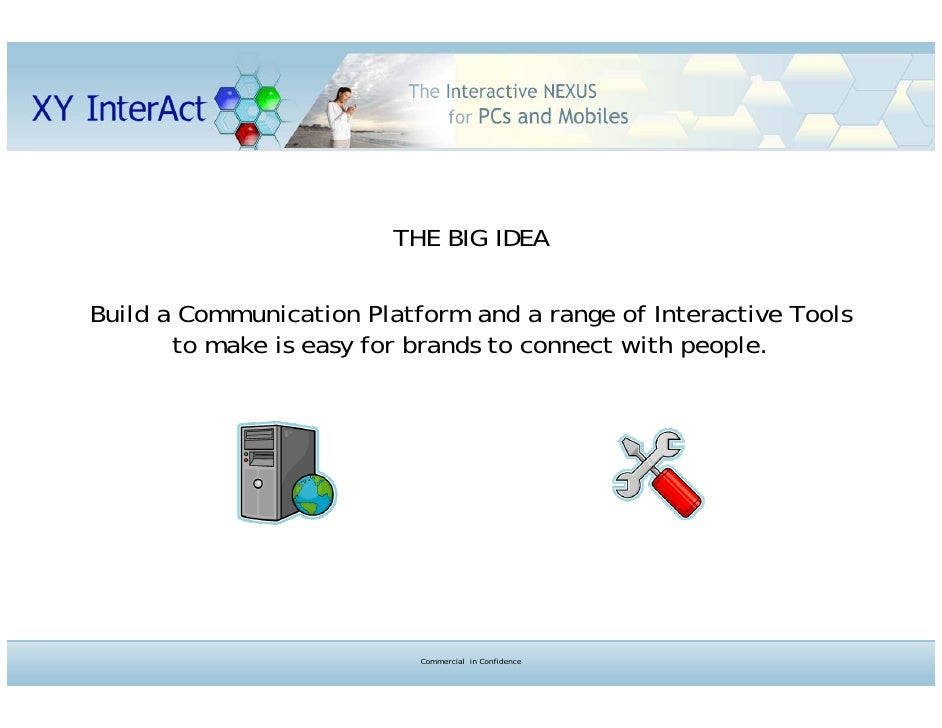 THE BIG IDEA  Build a Communication Platform and a range of Interactive Tools        to make is easy for brands to connect...