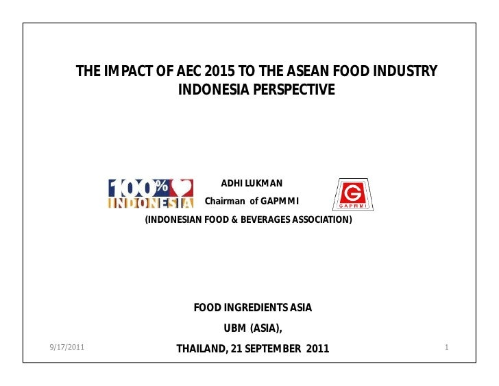 THE IMPACT OF AEC 2015 TO THE ASEAN FOOD INDUSTRY                    INDONESIA PERSPECTIVE                              AD...