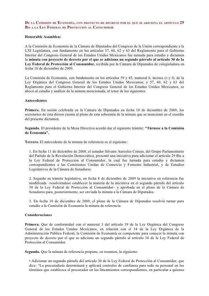 DE LA COMISIÓN DE ECONOMÍA, CON PROYECTO DE DECRETO POR EL QUE SE ADICIONA EL ARTÍCULO 29 BIS A LA LEY FEDERAL DE PROTECCI...