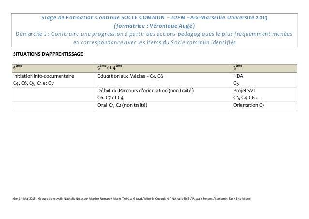 6 et 14 Mai 2013 - Groupe de travail : Nathalie Nolasco/ Marthe Romano/ Marie-Thérèse Giraud/ Mireille Coppolani / Nathali...