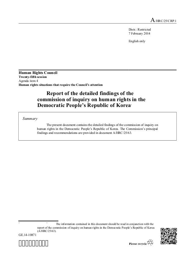 Report of the detailed findings of the commission of inquiry on human rights in the Democratic People's Republic of Korea