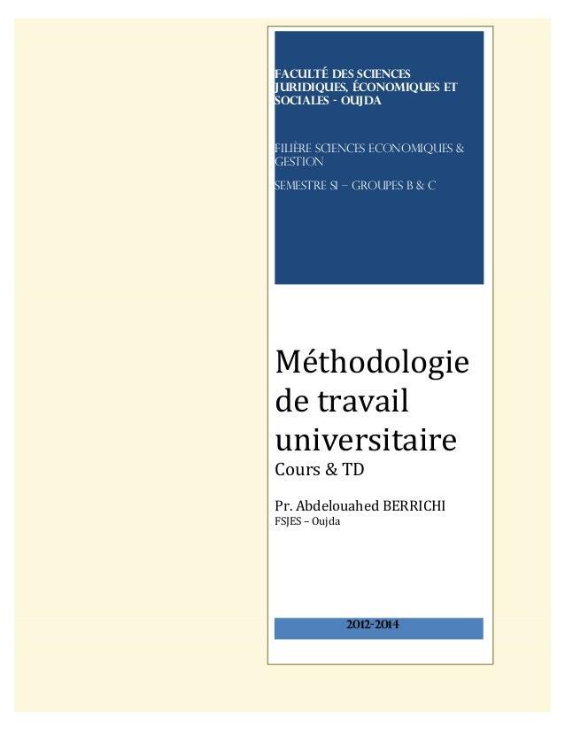 Faculté des sciences juridiques, économiques et sociales - OUJDA Filière Sciences Economiques & Gestion SEMESTRE S1 – Grou...