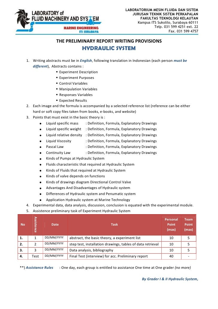 Preliminary Report Writting Requirement