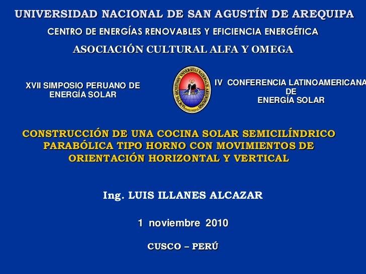 CONSTRUCCIÓN DE UNA COCINA SOLAR SEMICILÍNDRICO PARABÓLICA TIPO HORNO CON MOVIMIENTOS DE ORIENTACIÓN HORIZONTAL Y VERTICAL