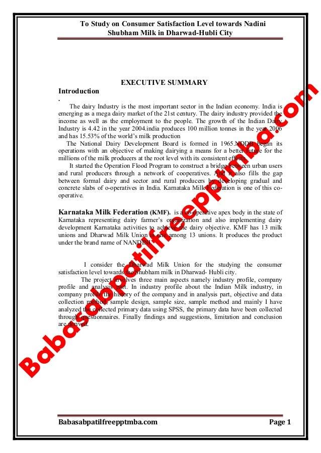 To Study on Consumer Satisfaction Level towards Nadini Shubham Milk in Dharwad-Hubli City Babasabpatilfreepptmba.com Page ...