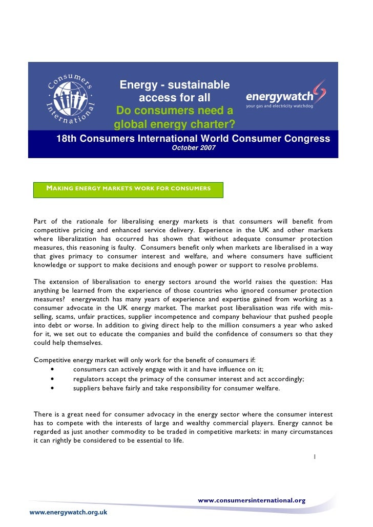 Energy - sustainable                              access for all                          Do consumers need a             ...