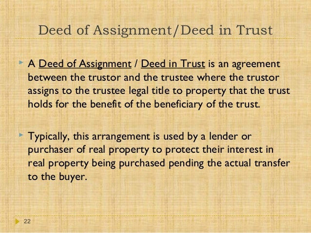 Assignment Deed Of Trust