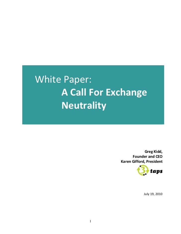 A Call for Exchange Neutrality