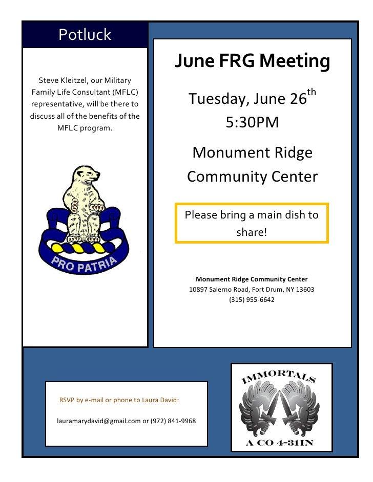 Potluck                                              June FRG Meeting   Steve Kleitzel, our Military                      ...