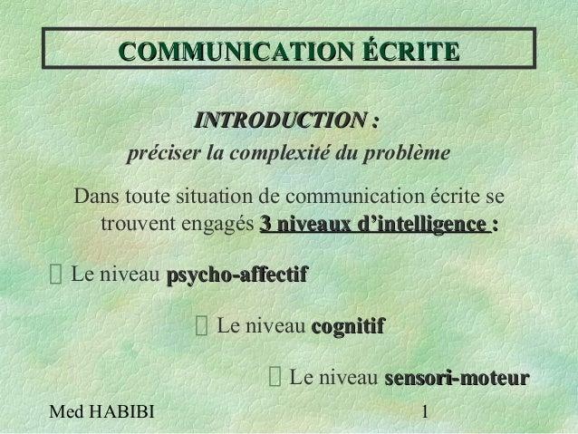 Med HABIBI 1 COMMUNICATION ÉCRITECOMMUNICATION ÉCRITE INTRODUCTION :INTRODUCTION : préciser la complexité du problème Dans...