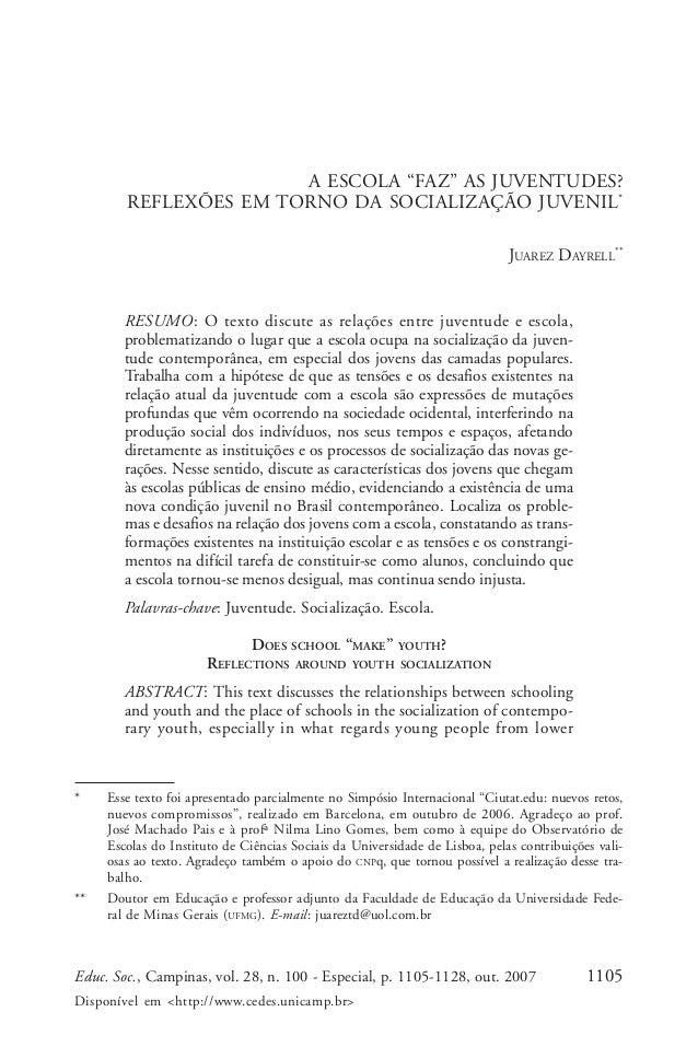 1105Educ. Soc., Campinas, vol. 28, n. 100 - Especial, p. 1105-1128, out. 2007 Disponível em <http://www.cedes.unicamp.br> ...