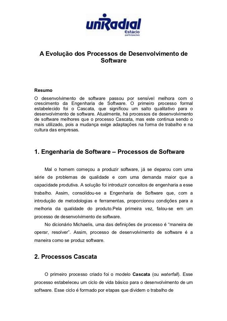 A Evolucao dos Processos de Desenvolvimento de Software