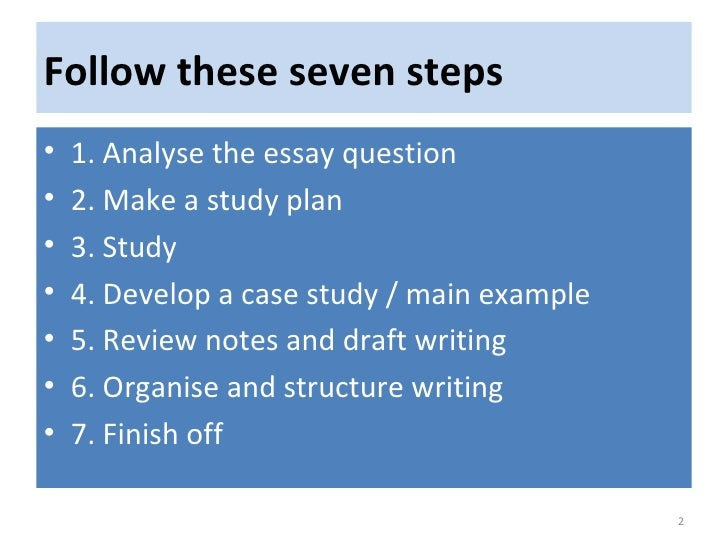 seven steps to writing an essay The process of writing a strong essay can be broken down into seven steps #1 choose a topic one of the most important steps to successfully writing an organized and persuasive occurs long before the actual writing.