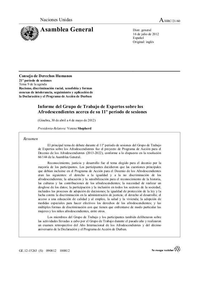 A/HRC/21/60  Naciones Unidas  Asamblea General  Distr. general 16 de julio de 2012 Español Original: inglés  Consejo de De...