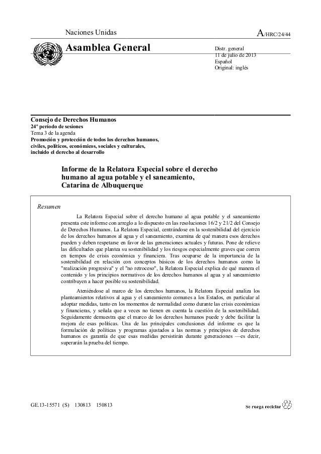 Informe presentados por la relatora de las NN.UU. Catarina de Albuquerque sobre el Derecho Humano al Agua y Saneamiento, de fecha: 11 de julio de 2013