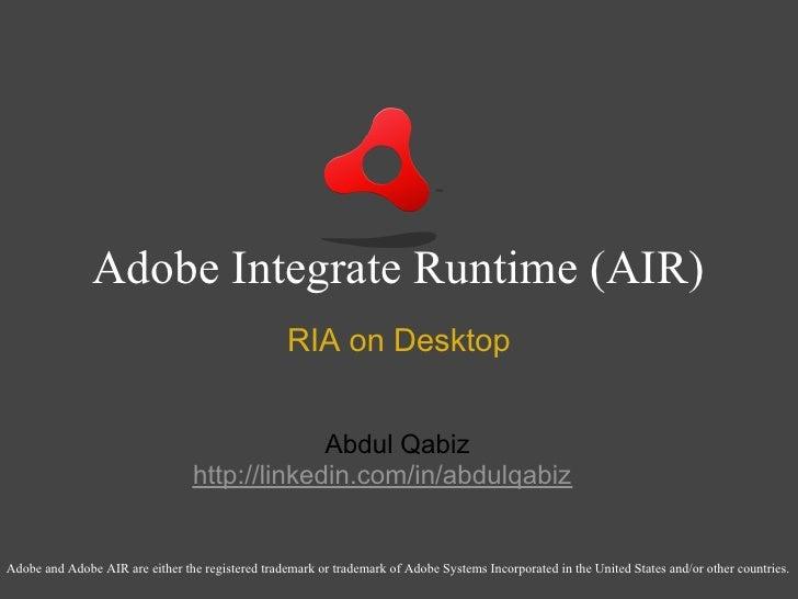 A I R  Presentation  Dev Camp  Feb 08