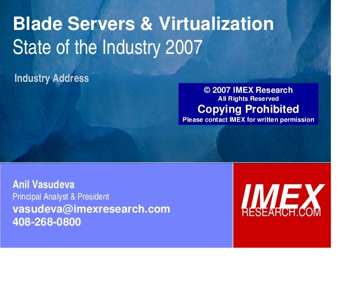 Blade Servers & Virtualization: State of the Industry