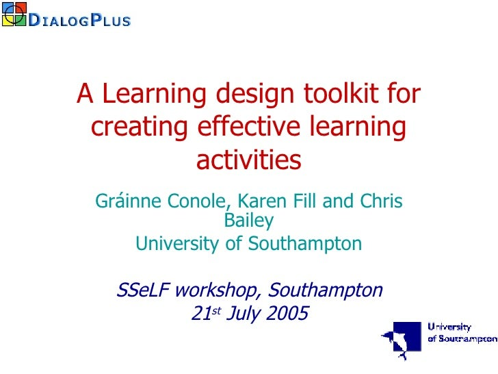 A learning design toolkit for creating effective learning activities