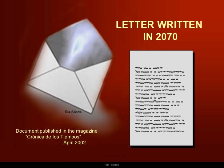 A Letter From The Year 2070