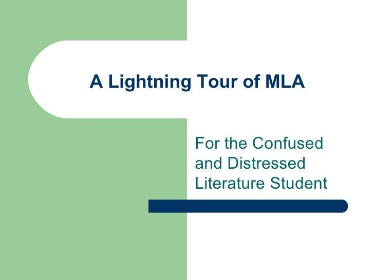A  Lightning  Tour Of  M L A