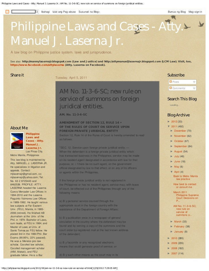Philippine Laws and Cases - Atty. Manuel J. Laserna Jr.: AM No. 11-3-6-SC; new rule on service of summons on foreign jurid...