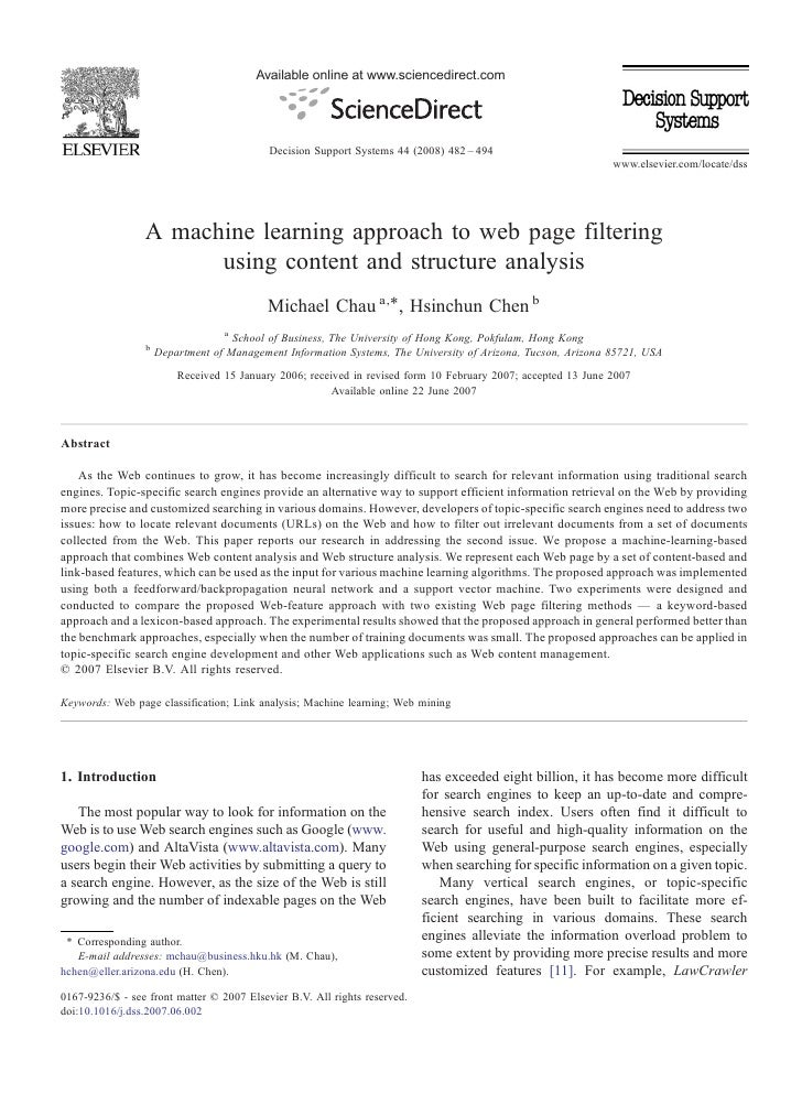 A machine learning approach to web page filtering using ...