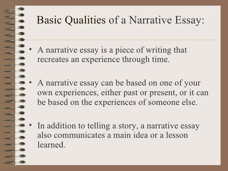 characteristics of a narrative essay Essays come in many forms in this lesson, you'll learn all about a narrative essay, from its basic definition to the key characteristics that make.