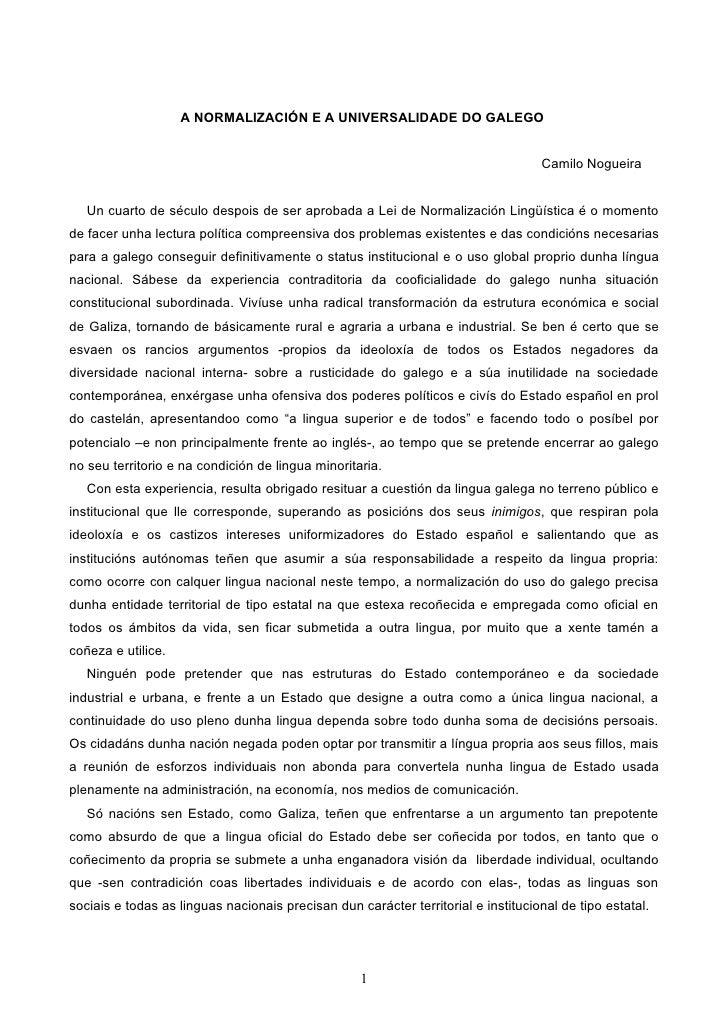A NORMALIZACIÓN E A UNIVERSALIDADE DO GALEGO                                                                              ...