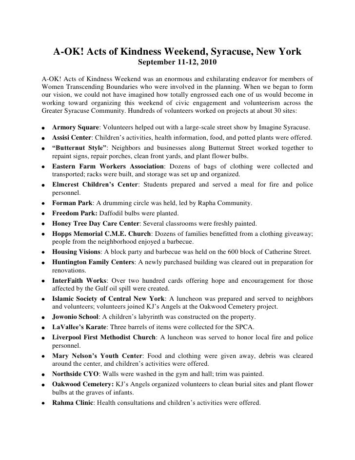 A-OK! Acts of Kindness Weekend, Syracuse, New YorkSeptember 11-12, 2010<br />A-OK! Acts of Kindness Weekend was an enormou...