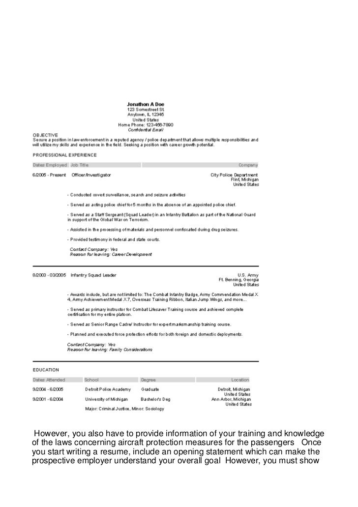 opening resume statement examples