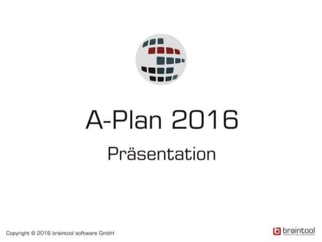 Inhalt 1. Was ist A-Plan? 2. Einsatzgebiete 3. Organisation der Daten 4. Darstellung von Projekten und Ressourcen 5. Repor...