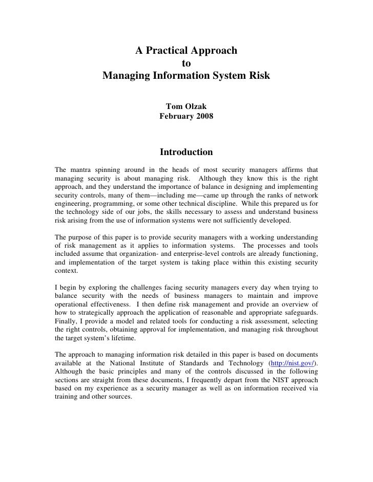 A Practical Approach to Managing Information System Risk
