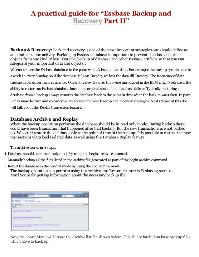 """A practical-guide-for-""""essbase-backup-and-recovery-part-ii -"""