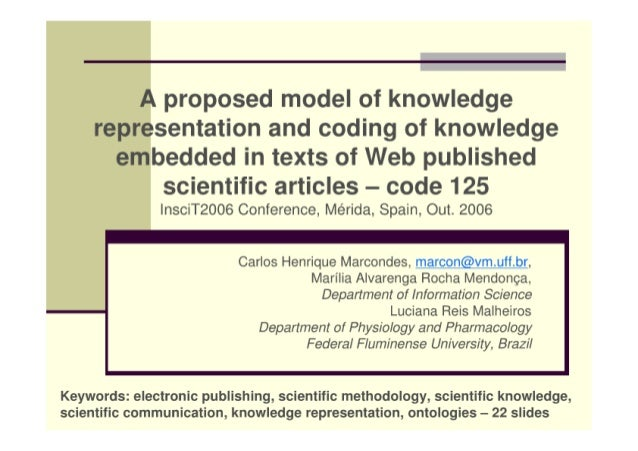 A proposed model of knowledge representation and the coding of knowledge embedded in texts of Web published scientific art...