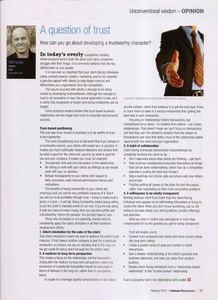 A Question of Trust HR Magazine Trip Allen Mar 2010
