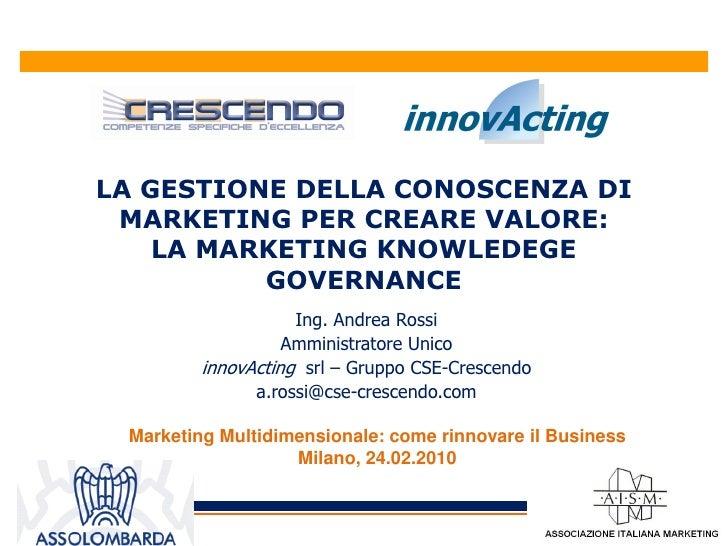 LA GESTIONE DELLA CONOSCENZA DI  MARKETING PER CREARE VALORE:     LA MARKETING KNOWLEDEGE           GOVERNANCE            ...