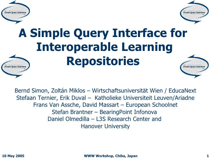 A Simple Query Interface for  Interoperable Learning Repositories   Bernd Simon, Zoltán Miklos – Wirtschaftsuniversität Wi...