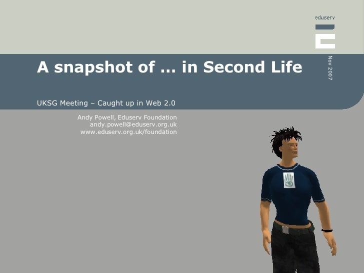 A snapshot of … in Second Life UKSG Meeting – Caught up in Web 2.0