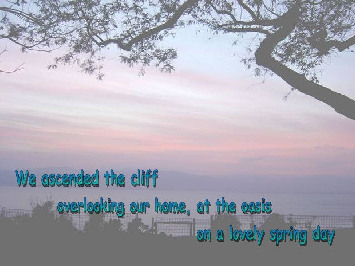 We ascended the cliff overlooking our home, at the oasis on a lovely spring day