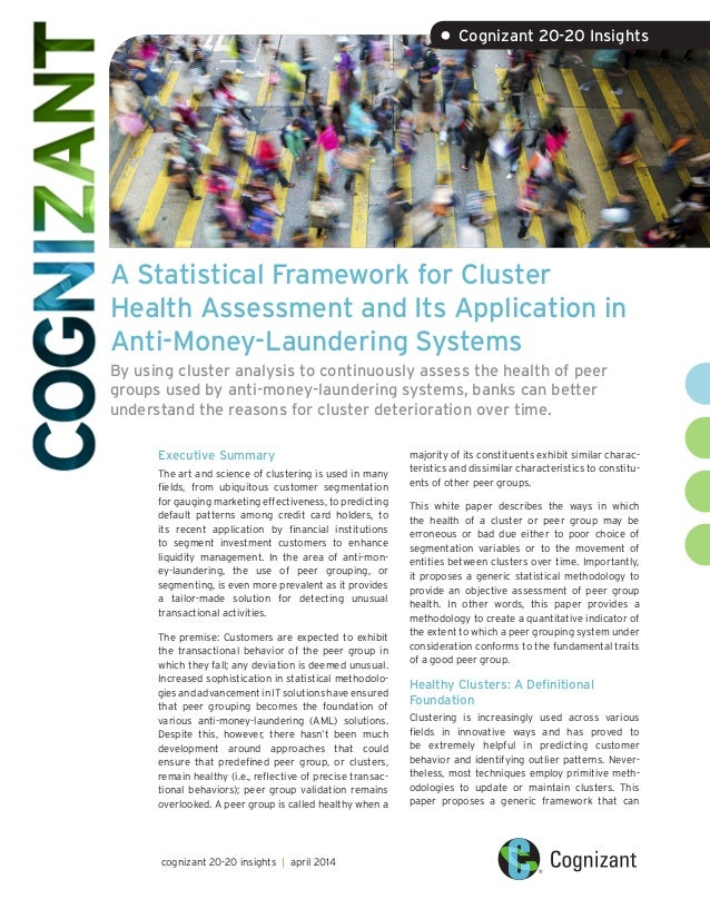 A Statistical Framework for Cluster Health Assessment and Its Application in Anti-Money-Laundering Systems