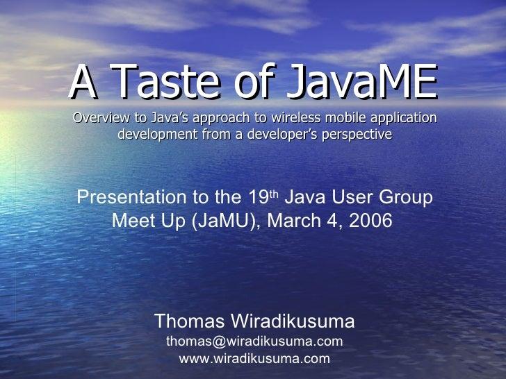 A Taste of Java ME