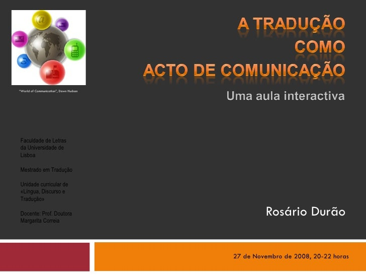 A Traducao como Acto de Comunicacao, Rosario Durao