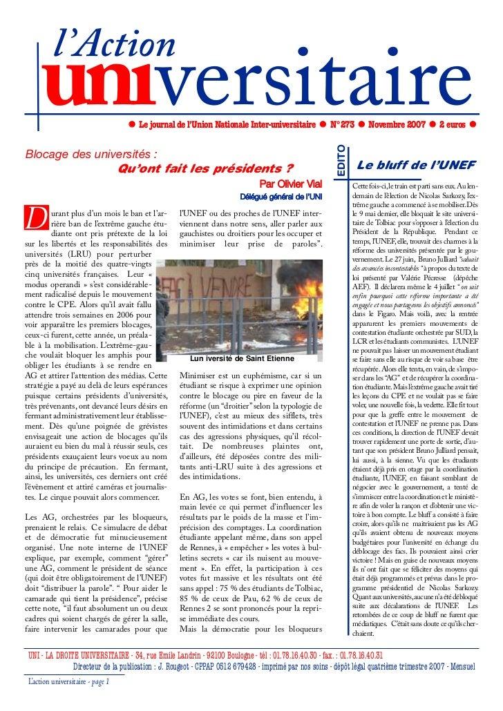 l'Action     universitaire                   Le journal de l'Union Nationale Inter-universitaire            N°273         ...