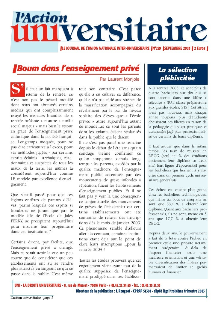 l'Actionuniversitaire                     ❚ LE JOURNAL DE L'UNION NATIONALE INTER-UNIVERSITAIRE ❚ N°229 ❚ SEPTEMBRE 2003 ❚...
