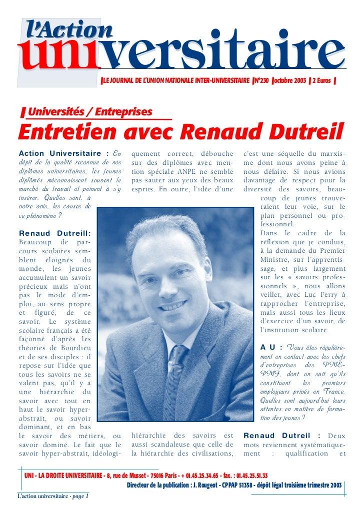 l'Actionuniversitaire                     ❚ LE JOURNAL DE L'UNION NATIONALE INTER-UNIVERSITAIRE ❚ N°230 ❚ octobre 2003 ❚ 2...