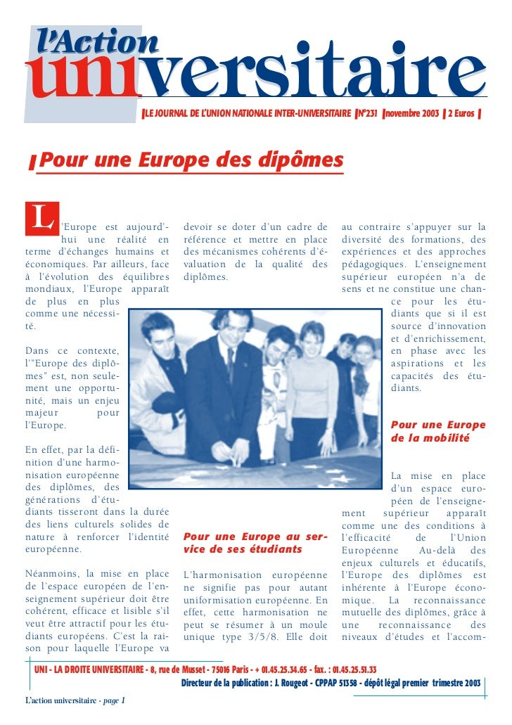 l'Actionuniversitaire                      ❚ LE JOURNAL DE L'UNION NATIONALE INTER-UNIVERSITAIRE ❚ N°231 ❚ novembre 2003 ❚...