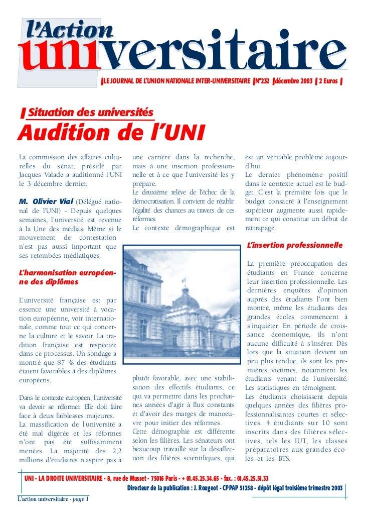 l'Actionuniversitaire                     ❚ LE JOURNAL DE L'UNION NATIONALE INTER-UNIVERSITAIRE ❚ N°232 ❚ décembre 2003 ❚ ...
