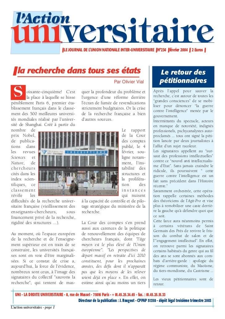 l'Actionuniversitaire                     ❚ LE JOURNAL DE L'UNION NATIONALE INTER-UNIVERSITAIRE ❚ N°234 ❚ février 2004 ❚ 2...