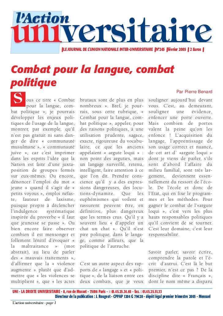 l'Actionuniversitaire                     ❚ LE JOURNAL DE L'UNION NATIONALE INTER-UNIVERSITAIRE ❚ N°245 ❚ février 2005 ❚ 2...